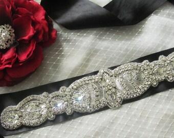 Bridal Sash / Rhinestone Sash /  Ribbon Sash