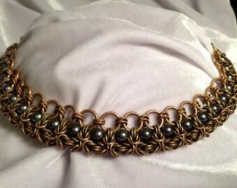 Brass & Black Pearl Half Square Byzantine Chain Mail Necklace