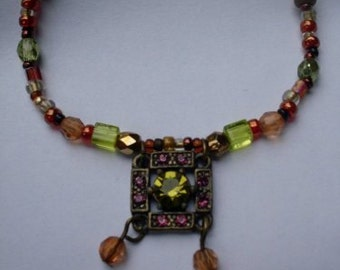 Vintage Gypsy Bohemian Peridot Beaded Necklace  Beaconhillcollectibles Jewelry