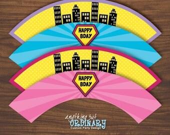Girls Superhero Cupcake Wrappers, Supergirl DIY Labels, INSTANT DOWNLOAD, digital printable file