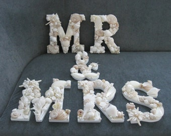 Beach Decor Shell Letters MR & MRS - White Shell Letters - Wooden Letters - Beach Wedding