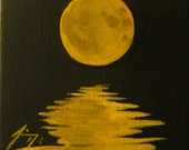 Yellow Moon Over Water Tiny Original Painting - Last day at this SALE price