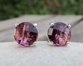 Raspberry Quartz Stud Earring- Pink Topaz Bohemian Earring- Pink Quartz Stud Earring- Purple Pink Simple Earring- Vibrant Boho Earring