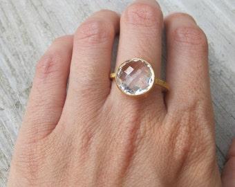 Round White Topaz Ring- Classic White Stone Ring- Simple White Gemstone Ring- White Quartz Promise Ring- Clear Quartz Statement Ring
