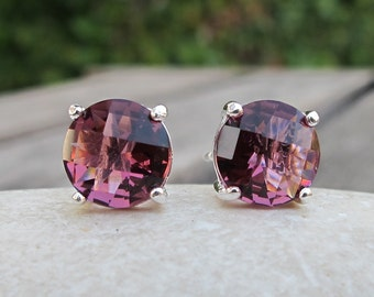 Pink Quartz Stud Earrings- Pink Topaz Earrings-Pink Earrings-Stone Studs-Stone Post Earrings-Silver Studs-Stone Earrings-Quartz Stud Earring