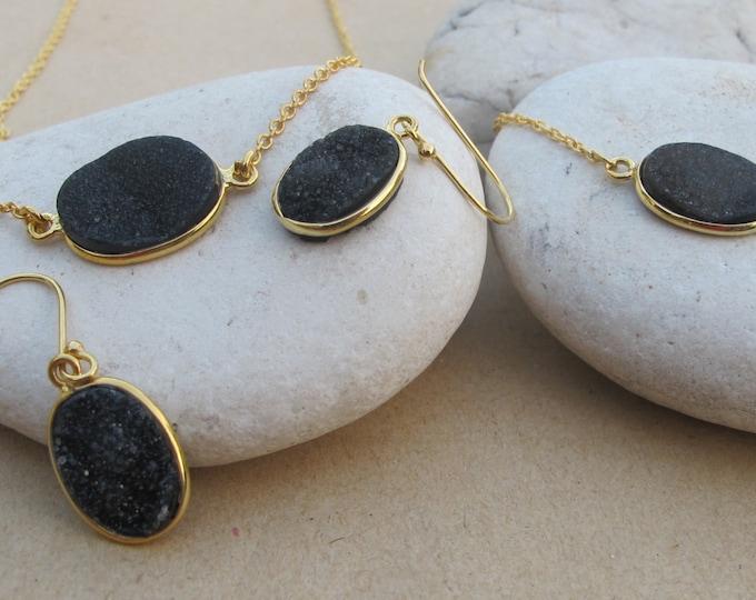 Black Druzy Jewelry Set- Necklace Bracelet Earring Set- Black Gemstone Jewelry Set- Oval Black Druzy Jewelry