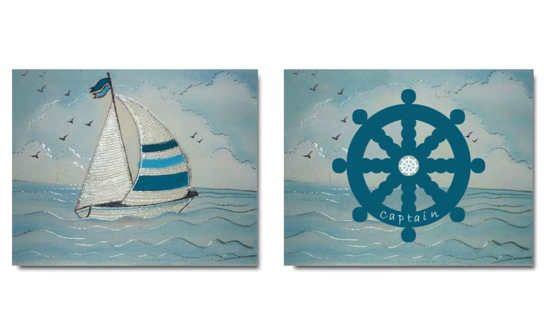 nautical boys room nursery prints nursery decor by handpainting. Black Bedroom Furniture Sets. Home Design Ideas
