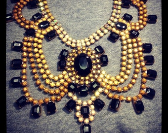 Custom Vintage Wedding Rhinestone Statement Necklace - Great Gatsby