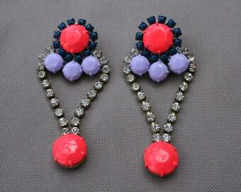 Coral Purple Vintage Rhinestone Earrings - Dannijo look