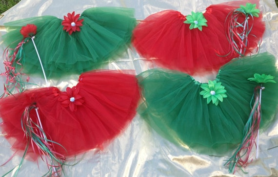 Christmas Fairy Princess Tutu and Christmas Wands, Christmas Party Favors, Red tutu, Green tutu, tutu, Fairy Tutu, Christmas Dance Recital