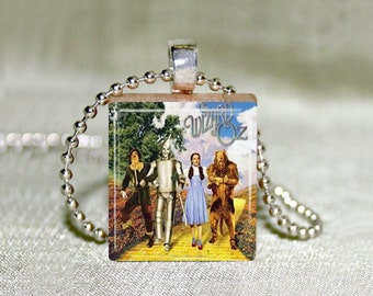 "Wizard of Oz Scrabble Jewelry, Necklace or Pendant Only, Cowardly Lion, Scarecrow, Tinman, Dorothy, Wizard of Oz Jewelry, 18"" Chain"
