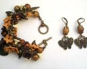 Flower bracelet and earrings - Handmade jewelry set - Statement bracelet