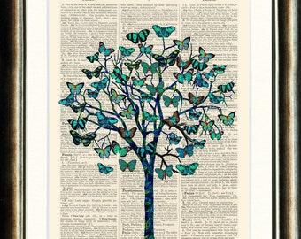 Butterfly Tree 3  - Upcycled vintage book page print on a page from an Upcycled late 1800s Dictionary Buy 3 get 1 Free