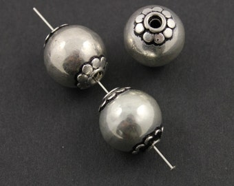 Sterling Silver Handmade Large Beautiful Round Bali Bead, 14mm Antiqued Finish,1 Piece (BA-5039)