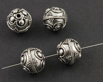 Bali Sterling Silver Bead w/ Granulation, Rope Detail, Oxidized Finish, 12mm Lovely Accent for Beaded Jewelry,  1 Piece (BA-5104)