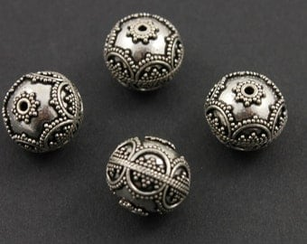 Bali Sterling Silver Bead w/ Granulation, Rope Detail, Oxidized Finish, 14mm Lovely Accent for Beaded Jewelry,  1 Piece (BA-5108)