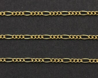 14k Gold Filled Figaro 3 Plus 1 Long and Short Chain Bright Polished 3x1mm elongated links,Sold by the Foot, GF-130CF/K (158)
