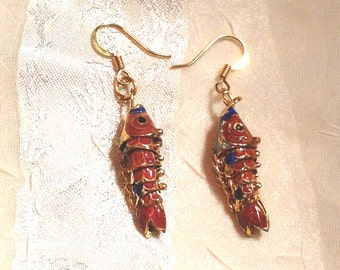 Upcycled Vintage Earrings Cloisonne Enamel Articulated Fish Orange & Blue