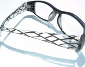 Coal Black and Anti-Flash Clear colored Decorative Eyewear & Rhinestone temple Diopter 2.50