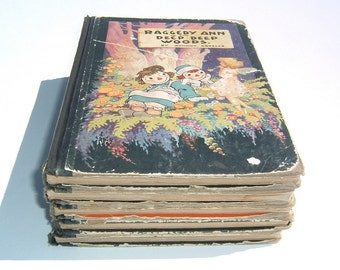 1918-1920 Raggedy Ann and Andy Colorful Illustrated Graphics Children's 5 First Edition Story Books  by Johnny Gruelle
