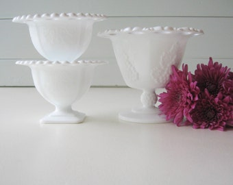 Wedding Milk Glass Decor, Milk Glass Compotes, Wedding Decor, Tablesetting