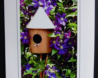 Copper Birdhouse in Clematis Greeting Notecard