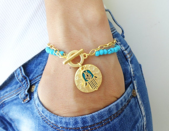 Hamsa hand of fatima turquoise bracelet - arabic jewelry turkish istanbul bracelets best friend birthday kaballah bracelet hamsa charm gold