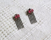 Pink and Copper Roses Decorative Hair Comb Pair (O8005)