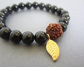 Rudraksha Japa Mala Bracelet, Meditation, Spiritual Jewelry, Onyx Bead, Wrist Mala, Buddhist Healing MalaFrom Lotus411