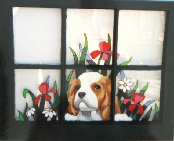 Custom Pet Portrait, Painted Window, Cavalier King Charles Spaniel,  Hand Painted Dog, Dog Art, Pet Memorial, Wall Hanging, Dog Loss, Puppy