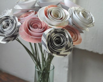 20 Pink and GrayPaper Flowers on Stems- Bouquet of Paper Flowers-