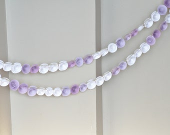 Lavender garland Lavender and white paper flower garland Lavender shower decor