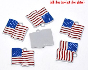 5 Pieces Silver Tone Enamel American Flag Charms