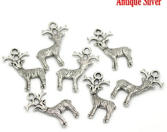 10 PCs Antique Silver Christmas Reindeer Charms