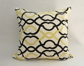 Moroccan Pillow Cover--Modern Black, White, and Lime Green Lattice Throw Pillow Cover--18 x 18 inch