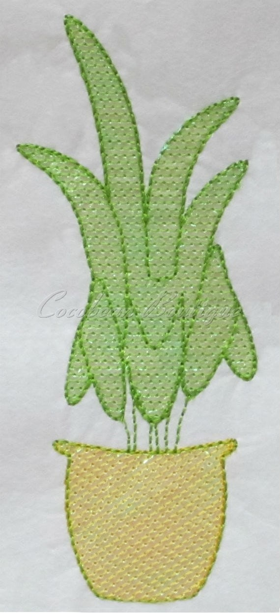 Mylar potted plant applique embroidery from
