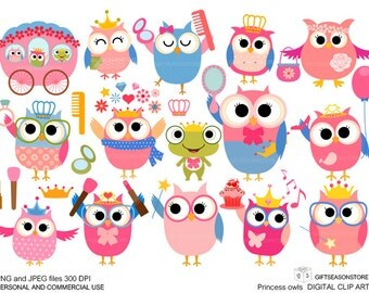 Princess owl Digital clip art for Personal and Commercial use - INSTANT DOWNLOAD