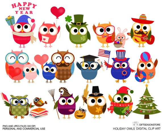 Holiday owls Digital clip art for Personal and Commercial use