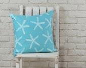 """Beach Decor: hand stamped hand dyed aqua starfish pillow cover 20""""x20"""",  made to order"""