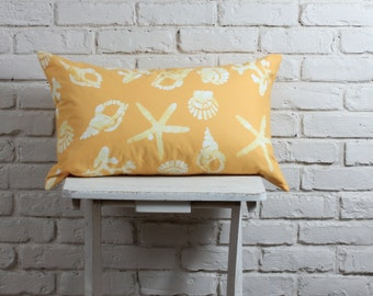 "Coastal Pillow Cover: hand stamped hand dyed  Yellow Sea Shell pillow cover, 16""x26"" made to order"