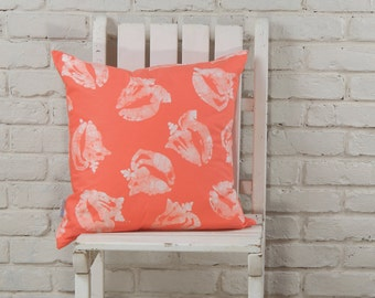 "Coastal Decor: Hand Stamped Hand Dyed ""Melon"" Conch Shell Pillow Cover 20""x20"" MADE TO ORDER"