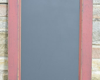 """Handcrafted Holly Berry Red PRiMiTiVE Distressed Country Kitchen Chalkboard  16"""" x 24"""" Vertical Style"""