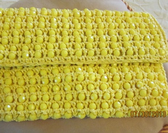 Vintage Beads Macrame1960s Made in Italy Clutch Bag Lemon Yellow