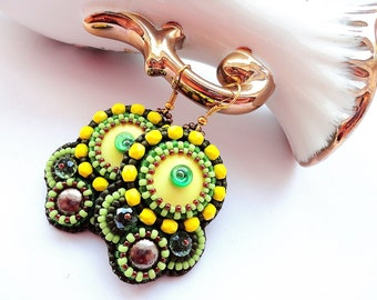 Beadwork Green Yellow Earrings Embroidery Lampwork Glass Earrings Yellow Dangle Earrings Spring Green Earrings OOAK Jewelry Ready to ship