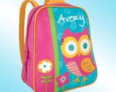 Backpack - Personalized and Embroidered - Go Go Bag - OWL AND FLOWERS