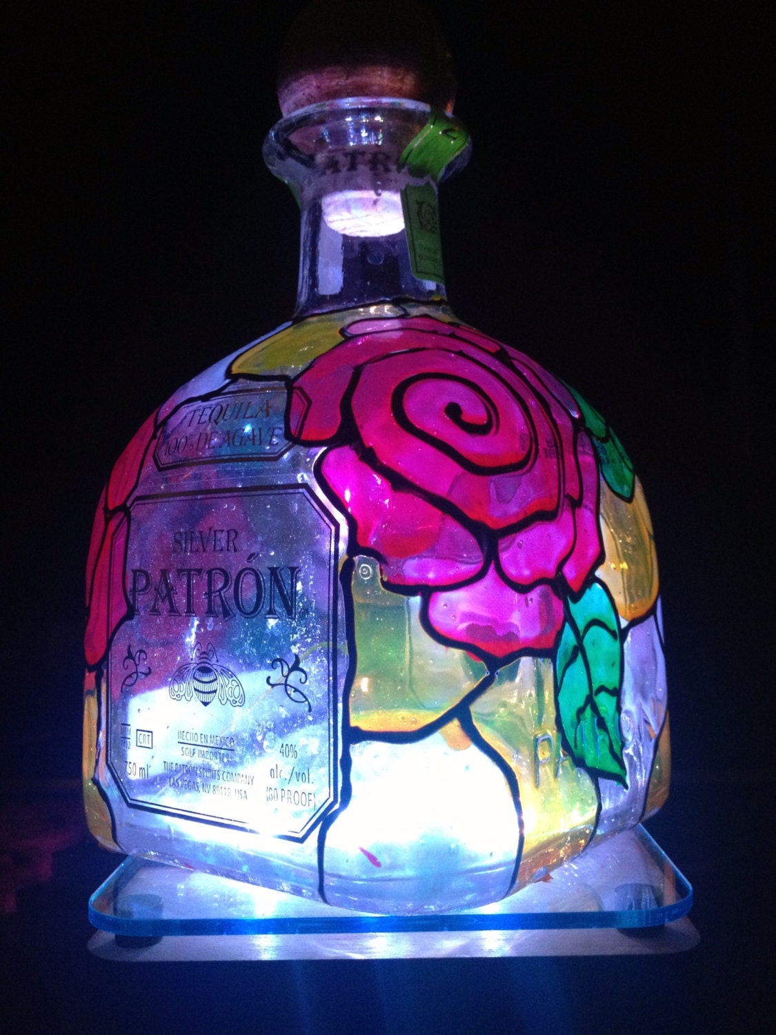 Tiffany Inspired Patron Bottle Lamp By Averosecollections