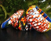 Sale 45% off  Use Coupon code African Fabric with Red Blue Yellow Dark Green Set of 3
