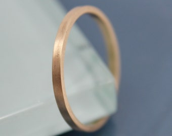 Brushed Rectangle 14k Solid Yellow Gold 1.5mm Classic Wedding Band Square Sides Stacking Ring  Satin Finish