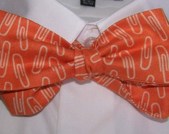 Bow Tie Bow tie Orange, Paper Clips, Office,  Cotton Men's Bow Tie -  Free Style Adjustable  - clip on - pretied - Great for Weddings
