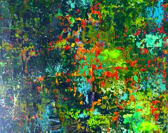Artwork Abstract Landscape Original Painting Enchanted Forest.
